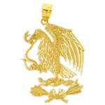 14k gold eagle with serpent pendant