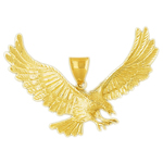 14k gold 65mm great eagle charm pendant