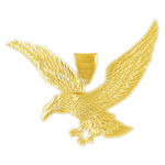 14k gold 55mm bald eagle charm pendant