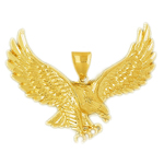 14kt gold hunting bald eagle pendant