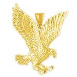 14k gold golden eagle pendant