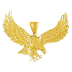 14k gold pouncing eagle pendant