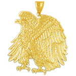 14k gold 50mm proud eagle charm pendant