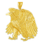 14k gold 40mm proud eagle charm pendant