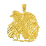 14 karat gold proud eagle pendant