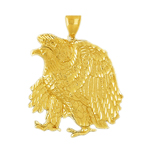 14 kt gold proud eagle pendant