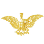 14k gold eagle with branch pendant