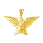 14k gold eagle clutching olive branch pendant