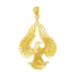 14k gold iconic eagle pendant