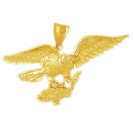 14k gold eagle capturing fish pendant