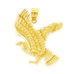 14k gold eagle in flight pendant