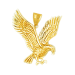 14kt gold golden eagle pendant