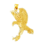 14k gold eagle catching a fish pendant