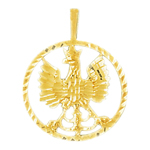 14k gold encircled eagle crest pendant