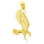 14k gold eagle swooping pendant