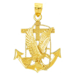 14k gold eagle and anchor charm pendant
