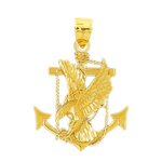 14k gold anchor and eagle pendant