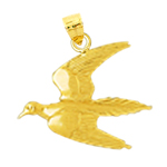 14k gold flying pigeon pendant