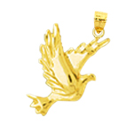 14k gold dove pendant