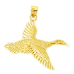 14k gold flying waterfowl bird pendant