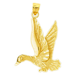 14k gold loon pendant