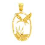 14k gold flying bird in oval frame pendant