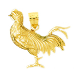 14k gold cock-a-doodle-do rooster pendant