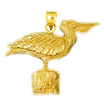 14k gold pelican perched pendant