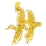14k gold two pelicans charm pendant