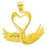 14k gold two swans forming a heart pendant