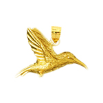 14k gold flying hummingbird pendant