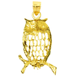 14k gold filigree owl pendant