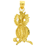 14k gold 22mm nocturnal owl charm pendant