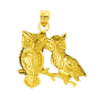 14k gold two owls charm pendant