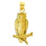 14k gold perched owl charm pendant