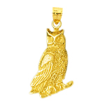 14k gold 20mm perched owl charm