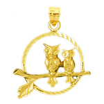 14k gold two owls perched encircled pendant