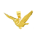 14k gold flying owl pendant