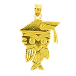 14k gold owl with graduation cap charm
