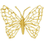 14k gold filigree butterfly charm pendant