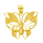 14k gold ornate butterfly charm pendant