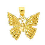 14k gold 22mm butterfly charm pendant