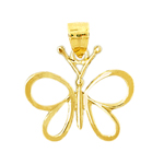 14k gold floating butterfly charm pendant