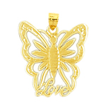 14k gold love butterfly charm pendant