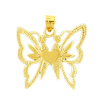 14k gold two headed butterflies heart charm pendant