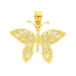14k gold butterfly with cut-out wings charm pendant