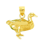 14k gold 3d duck pendant