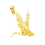 14k gold flying duck charm