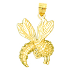 14k gold honey bee charm pendant