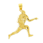 14k gold football wide receiver charm pendant
